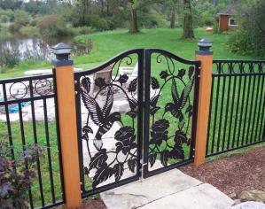 Hummingbird And Flowers Garden Gate
