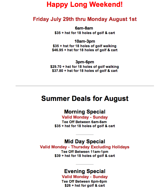 Summer Events and Great Golf Deals at Innisbrook in South Barrie