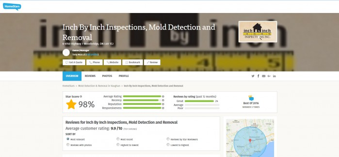Inch By Inch Inspections on Homestars!